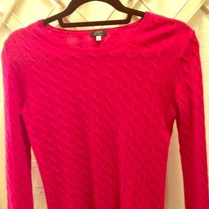 Pink cashmere jcrew cable knit sweater